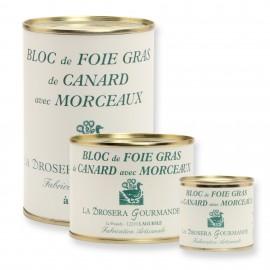 Bloc de foie gras de canard avec 30% de morceaux origine France Boite 100g 200g et 400g
