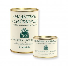 Galantines de châtaignes avec 20% de bloc de foie gras de canard boites 190g et 400g Origine France
