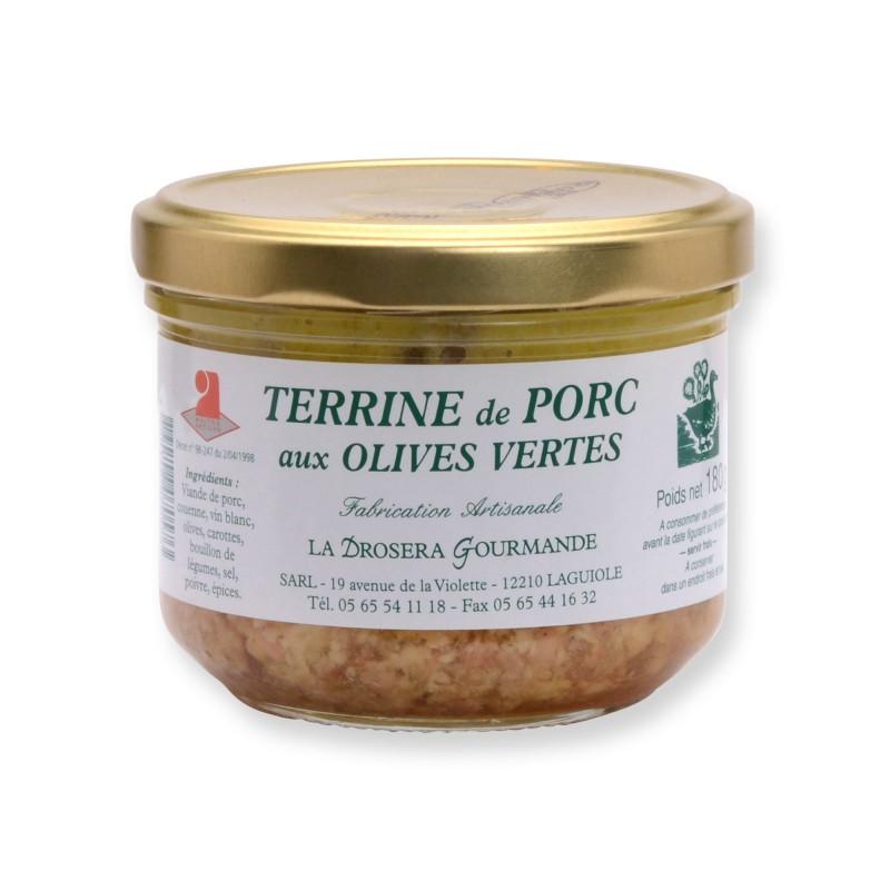 Terrine de porc aux olives vertes 180 g LA DROSERA GOURMANDE