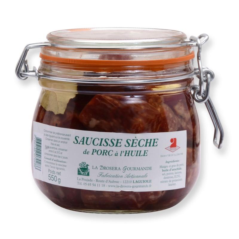 Saucisse sèche de porc à l'huile 550 g LA DROSERA GOURMANDE
