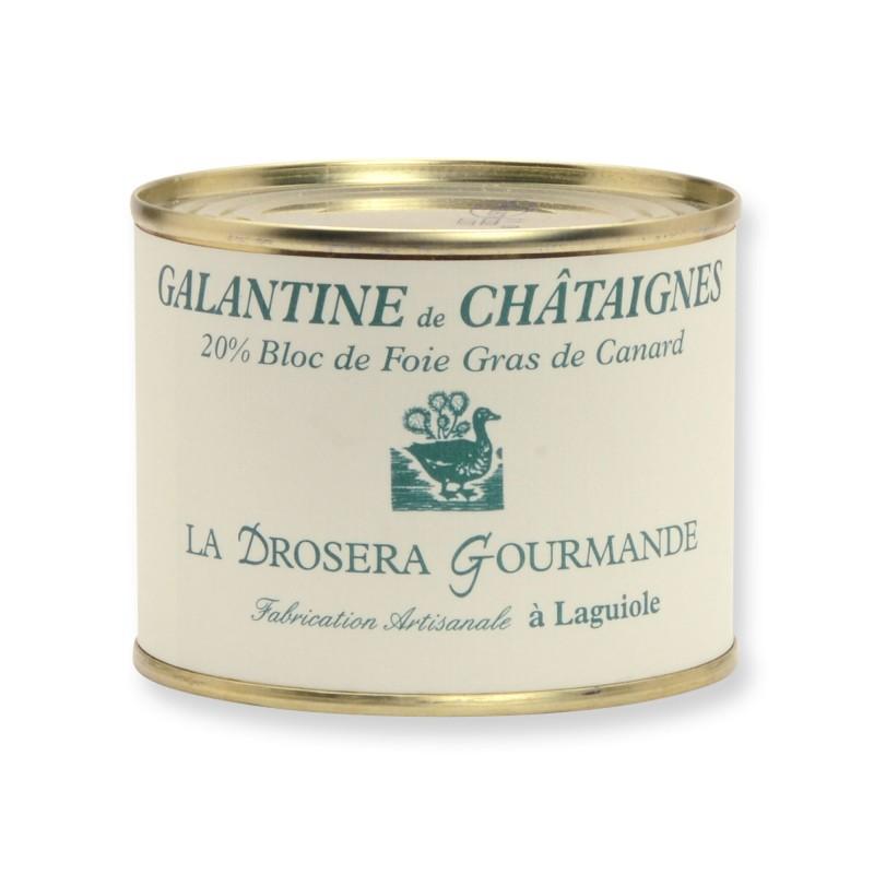 Galantine de châtaignes - 20% bloc de foie gras de canard 190 g LA DROSERA GOURMANDE