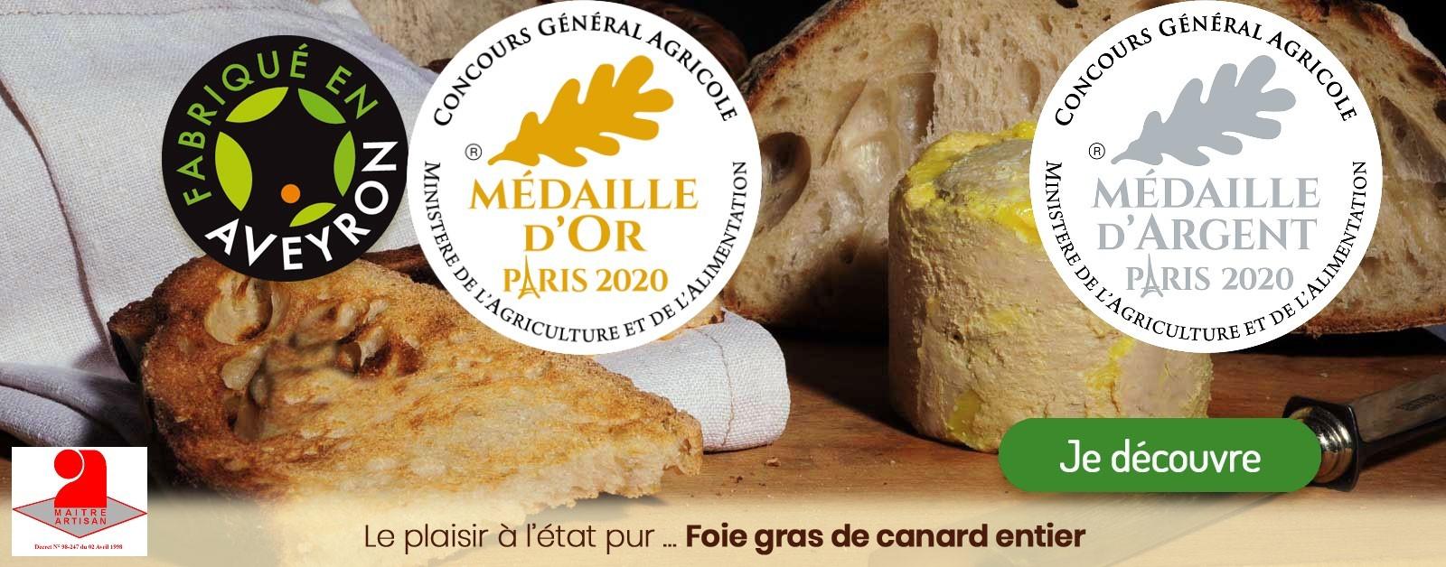 Une nouvelle médaille d'or et une nouvelle médaille d'argent 2020 pour le foie gras de canard entier de La Drosera Gourmande