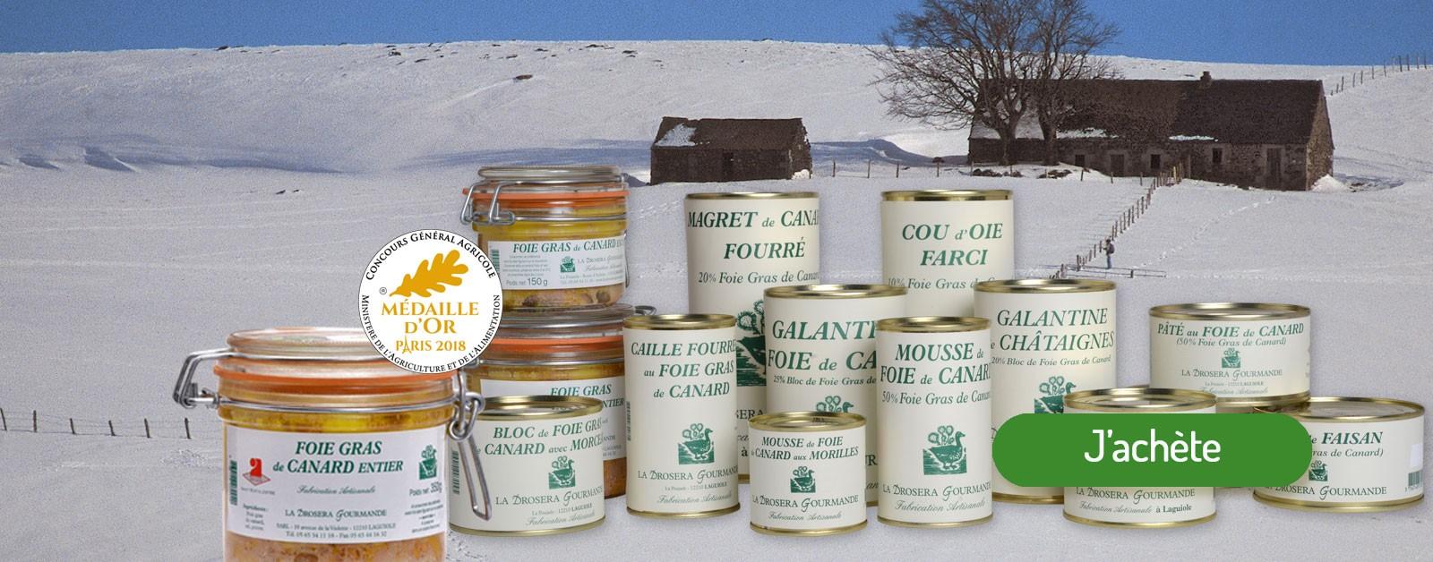 Les spécialités gastronomiques de La Drosera Gourmande - Fabrication artisanale en Aveyron